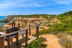Rest place on cliff path. On coast of Portugal, Algarve region Stock Photography