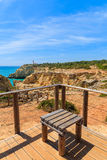 Rest place on cliff path. On coast of Portugal, Algarve region Royalty Free Stock Images
