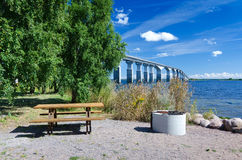 Rest place close to the bridge. Rest place on the side from Oland's bridge Stock Photography