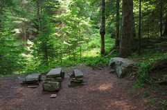 Rest place in forest. Rest place from stones in the forest Royalty Free Stock Photography