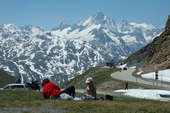Rest place high in Alps. In Switzerland Royalty Free Stock Photo