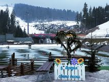 Rest place near lake in Bukovel ski resort, Ukraine stock photos