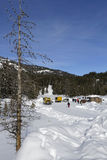Rest place in the Park. YELLOWSTONE PARK, WYOMING, January 23, 2017 : During the winter, visitors often access the Yellowstone National Park by way of guided Royalty Free Stock Image