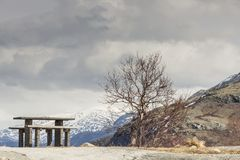 Rest place on Sognefjellet 55 road - Norway. Rest place on Sognefjellet 55 road to highest pass in Norway Stock Photo