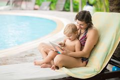 Rest by pool Royalty Free Stock Photos