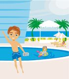 Rest by the pool. Vector Illustration Royalty Free Stock Photography