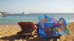 Rest on the Red Sea, the Girl on a Lounger Overlooking the Sea in Egypt. EGYPT, SOUTH SINAI, SHARM EL SHEIKH, DECEMBER 7, 2016: Woman sunbathing on a lounger stock video footage