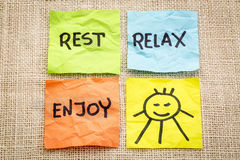 Rest, relax and enjoy Stock Photo