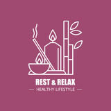 Rest and relax vector logo design template. Modern linear branding element for healthy lifestyle company. Spa elements Stock Photography
