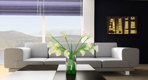 Rest room. White sofa in a rest room 3d image Royalty Free Stock Image