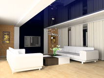 Rest room. White sofa in a rest room 3d image Royalty Free Stock Photos