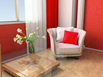 Rest room. White armchair in a rest room 3d image Royalty Free Stock Photo