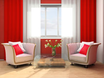 Rest room. White armchair in a rest room 3d image Stock Photo
