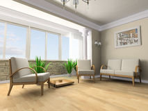 Rest room. White sofa in a rest room 3d image Stock Photography