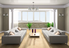 Rest room. White sofa in a rest room 3d image Stock Photos