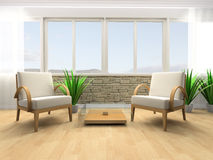 Rest room. White armchair in a rest room 3d image Royalty Free Stock Photography