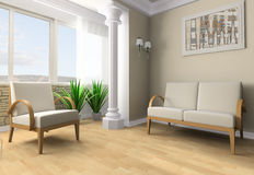 Rest room. White sofa in a rest room 3d image Stock Photo