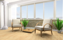 Rest room. White armchair in a rest room 3d image Stock Images