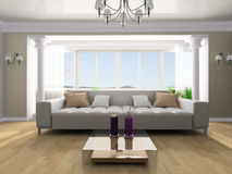 Rest room. White sofa in a rest room 3d image Royalty Free Stock Photo