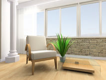 Rest room. White armchair in a rest room 3d image Royalty Free Stock Image