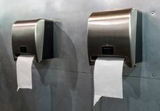 Rest room paper towels. Paper towel dispensers in a restroom stock image