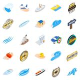 Rest on the sea icons set, isometric style. Rest on the sea icons set. Isometric set of 25 rest on the sea vector icons for web isolated on white background Royalty Free Stock Photography