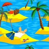 Rest on the sea. Summer journey. Seamless. Stock Image