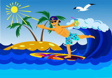 Rest of the sea in the tropics. A man in shorts and a cap riding a surfboard in the sea near a tropical island Stock Photos