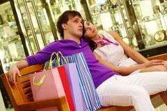 Rest after shopping Royalty Free Stock Photo