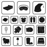 Rest and sleep black icons in set collection for design. Accessories and comfort vector symbol stock web illustration. Rest and sleep black icons in set Royalty Free Stock Images