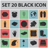 Rest and sleep black icons in set collection for design. Accessories and comfort vector symbol stock web illustration. Rest and sleep black icons in set Royalty Free Stock Image