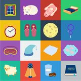 Rest and sleep cartoon icons in set collection for design. Accessories and comfort vector symbol stock web illustration. royalty free illustration