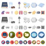 Rest and sleep cartoon icons in set collection for design. Accessories and comfort vector symbol stock web illustration. Rest and sleep cartoon icons in set stock illustration