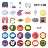 Rest and sleep cartoon icons in set collection for design. Accessories and comfort vector symbol stock web illustration. Rest and sleep cartoon icons in set royalty free illustration