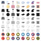 Rest and sleep cartoon icons in set collection for design. Accessories and comfort vector symbol stock web illustration. Rest and sleep cartoon icons in set vector illustration