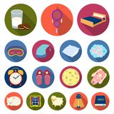 Rest and sleep flat icons in set collection for design. Accessories and comfort vector symbol stock web illustration. Rest and sleep flat icons in set Royalty Free Stock Images