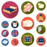 Rest and sleep flat icons in set collection for design. Accessories and comfort vector symbol stock web illustration. Rest and sleep flat icons in set Stock Image
