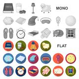 Rest and sleep flat icons in set collection for design. Accessories and comfort vector symbol stock web illustration. Rest and sleep flat icons in set stock illustration