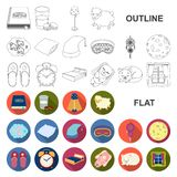 Rest and sleep flat icons in set collection for design. Accessories and comfort vector symbol stock web illustration. Rest and sleep flat icons in set royalty free illustration