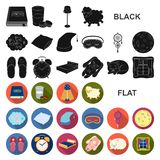 Rest and sleep flat icons in set collection for design. Accessories and comfort vector symbol stock web illustration. Rest and sleep flat icons in set vector illustration
