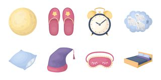 Rest and sleep icons in set collection for design. Accessories and comfort vector symbol stock web illustration. Rest and sleep icons in set collection for Royalty Free Stock Images
