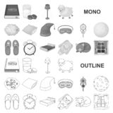 Rest and sleep monochrom icons in set collection for design. Accessories and comfort vector symbol stock web. Rest and sleep monochrom icons in set collection stock illustration