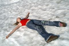 Rest on snow. Royalty Free Stock Images