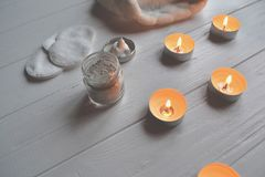 Rest in the spa. Beauty care. Relaxation time for youself. Aromatherapy. Royalty Free Stock Image