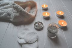 Rest in the spa. Beauty care. Relaxation time for youself. Aromatherapy. Royalty Free Stock Photography