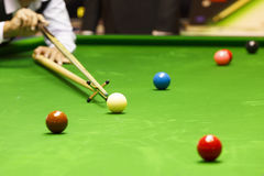 Rest stick on snooker table Stock Photo