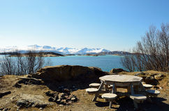 Rest stop bench and table. With a view in northern norway Royalty Free Stock Photo