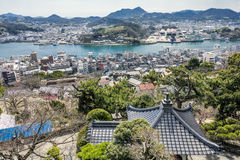 Rest stop and city. Rest stop roof and city area beside strait in Onomichi Stock Image
