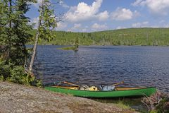 Rest Stop on a Sunny Day. On Agamok Lake in the Boudnary Waters in Minnesota Stock Photos