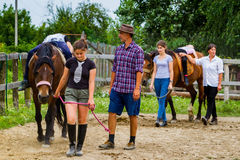 Rest in the summer children`s equestrian camp in Ukraine Stock Images